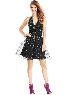Betsey Johnson Sequin Dot Metallic Halter Dress
