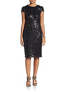 Betsey Johnson Sequined Filigree Sheath Dress