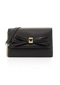 Betsey Johnson Serendipity Bow-Embellished Crossbody Bag, Black
