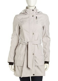 Betsey Johnson Shift Hooded Trench Jacket, Silver