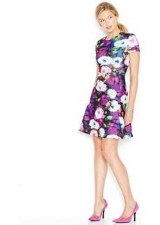 Betsey Johnson Short-Sleeve Floral Scuba Dress