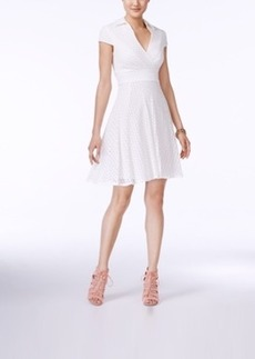 Betsey Johnson Short-Sleeve Lace Fit & Flare Dress