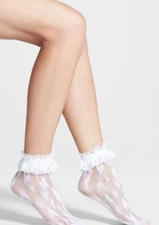 Betsey Johnson 'Shortie' Lace Trim Fishnet Socks