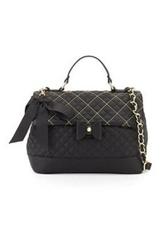 Betsey Johnson Shot Beads Quilted Crossbody Bag, Black