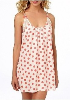 Betsey Johnson Silky Luxe Neon Dot Chemise