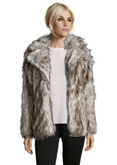 Betsey Johnson silver faux fox fur coat