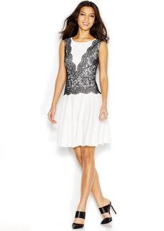 Betsey Johnson Sleeveless Contrast-Lace Dress