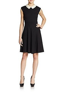 Betsey Johnson Sleeveless Embellished Contrast Collar Dress