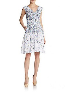 Betsey Johnson Sleeveless Floral-Print Lace Dress