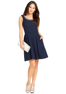 Betsey Johnson Sleeveless Jewel-Neck Dress