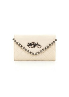 Betsey Johnson Small Crossbody Clutch with Ball/Stud Trim, Cream