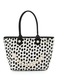 Betsey Johnson Smiley Pearl Polka-Dot Tote Bag