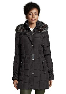 Betsey Johnson steel quilted down filled faux fur hooded zip and snap front coat