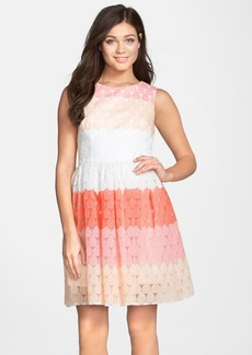 Betsey Johnson Stripe Embroidered Fit & Flare Dress