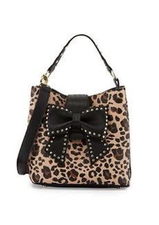 Betsey Johnson Stud-Bow Leopard-Print Shoulder Bag, Black/Tan
