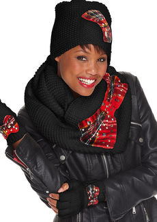 Betsey Johnson Tartan Bow Fingerless Gloves