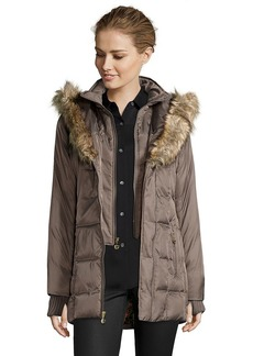 Betsey Johnson taupe faux fur trimmed hood corset detail ...