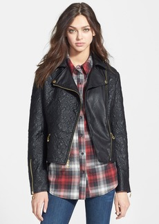 Betsey Johnson Textured Faux Leather Moto Jacket (Online Only)