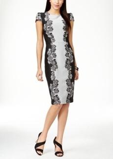 Betsey Johnson Textured Floral-Panel Sheath Dress