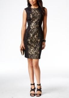 Betsey Johnson Textured Metallic Floral-Panel Sheath Dress