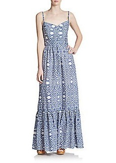 Betsey Johnson Tiered Cotton/Linen Maxi Dress