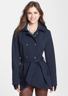 Betsey Johnson Tulip Hem Soft Shell Jacket with Removable Hood