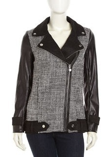 Betsey Johnson Tweed Faux-Leather Zip Moto Jacket, Black