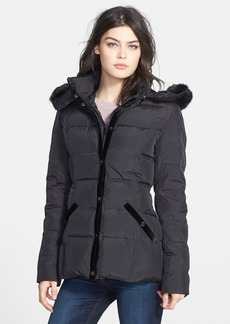 Betsey Johnson Velvet Trim Puffer Jacket with Faux Fur Trim (Online Only)