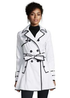 Betsey Johnson white and black woven double breasted trench coat