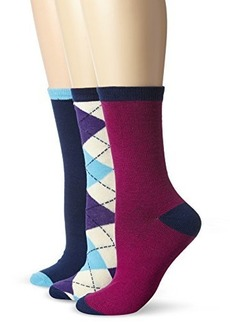 Betsey Johnson Women's Argyle Crew Socks 3-pack