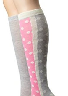 Betsey Johnson Women's Half Dot Tipped 2 Pack Knee High Sock