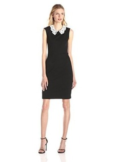 Betsey Johnson Women's Lace Collar Fitted Dress