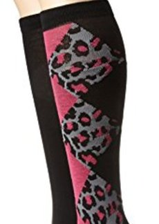 Betsey Johnson Women's Leopard Argyle 2 Pack Knee High Sock