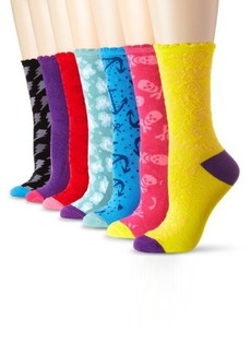 Betsey Johnson Women's Seven-Pack Color Me Crazy Crew Sock Gift Box
