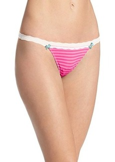Betsey Johnson Women's Stretch Cotton Wideside Thong Panty