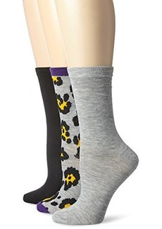 Betsey Johnson Women's Three-Pack Funky Leopard Crew Socks