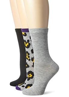 Betsey Johnson Women's Three-Pack Funky Leopard Crew Socks