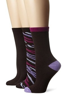 Betsey Johnson Women's Zebra Crew Socks 3-pack