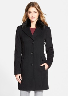Betsey Johnson Wool Blend Coat with Faux Fur Collar (Online Only)