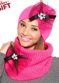 Betsey Johnson Woven Ribbed Bow Beanie
