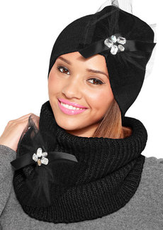 Betsey Johnson Woven Ribbed Bow Snood Scarf