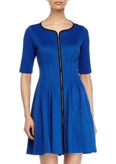 Betsey Johnson Zip-Front Fit-and-Flare Dress