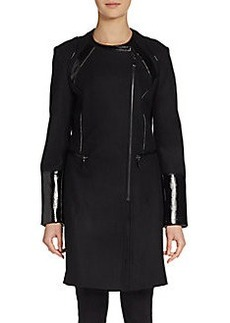 Via Spiga Collarless Zip Coat