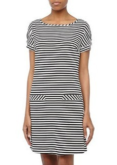 Laundry by Shelli Segal Striped Matte Jersey Shift Dress, Black/White