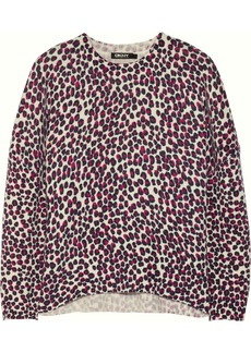 DKNY Leopard-print wool-blend sweater