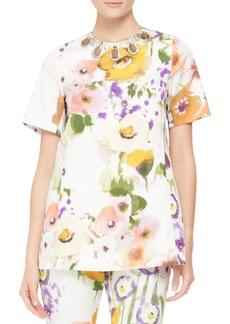 Lela Rose Embellished-Neck Floral Tunic