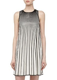 Catherine Malandrino Bonta Sunburst-Stripe Shift Dress, Ivory/Black