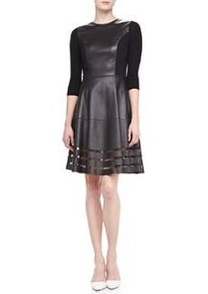 Elie Tahari Dezma Leather & Ponte Dress