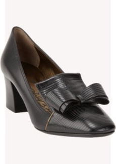Lanvin Stamped Bow Loafer Pump
