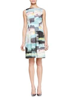 Lela Rose Bateau Tucked-Waist Dress